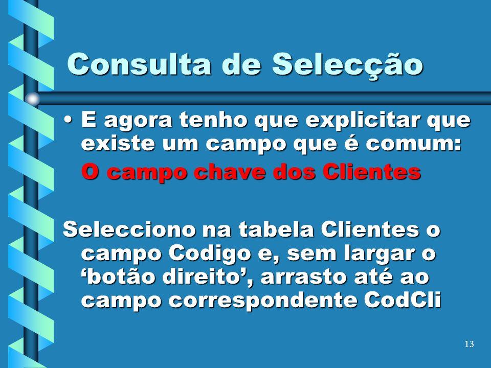 Consulta de SelecçãoE agora tenho que explicitar que existe um campo que é comum: O campo chave dos Clientes.