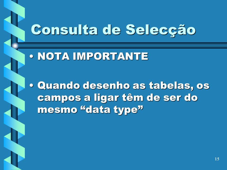 Consulta de Selecção NOTA IMPORTANTE