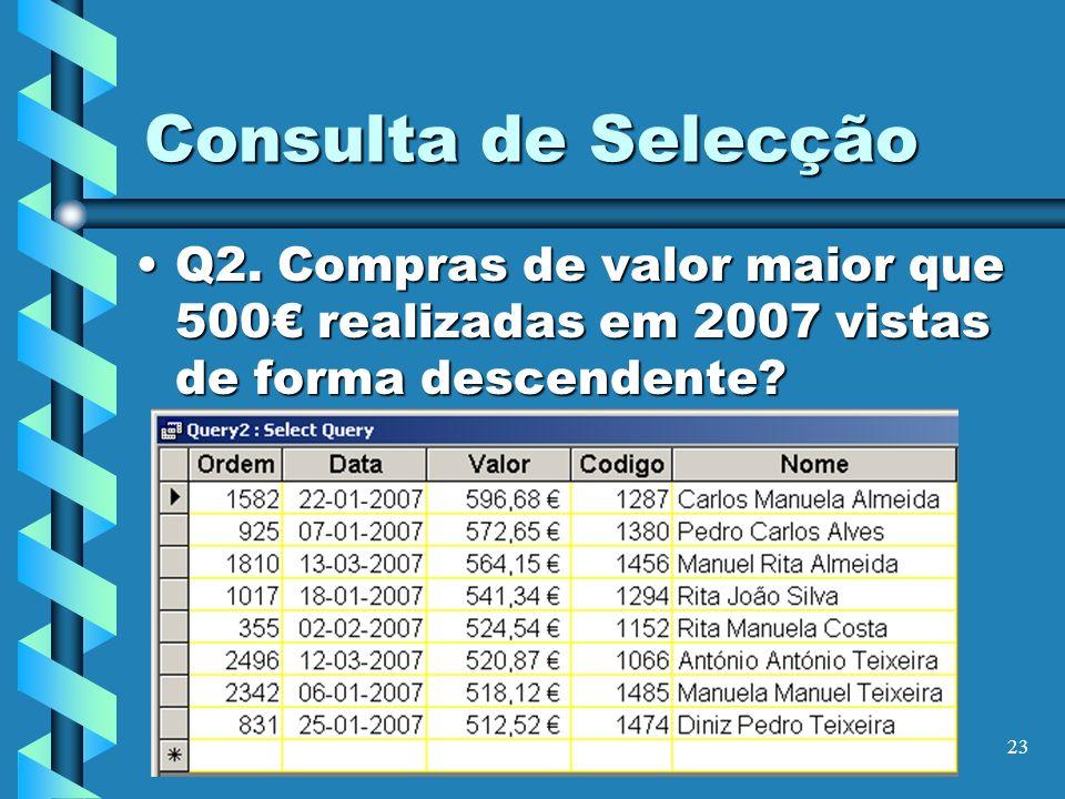 Consulta de Selecção Q2.