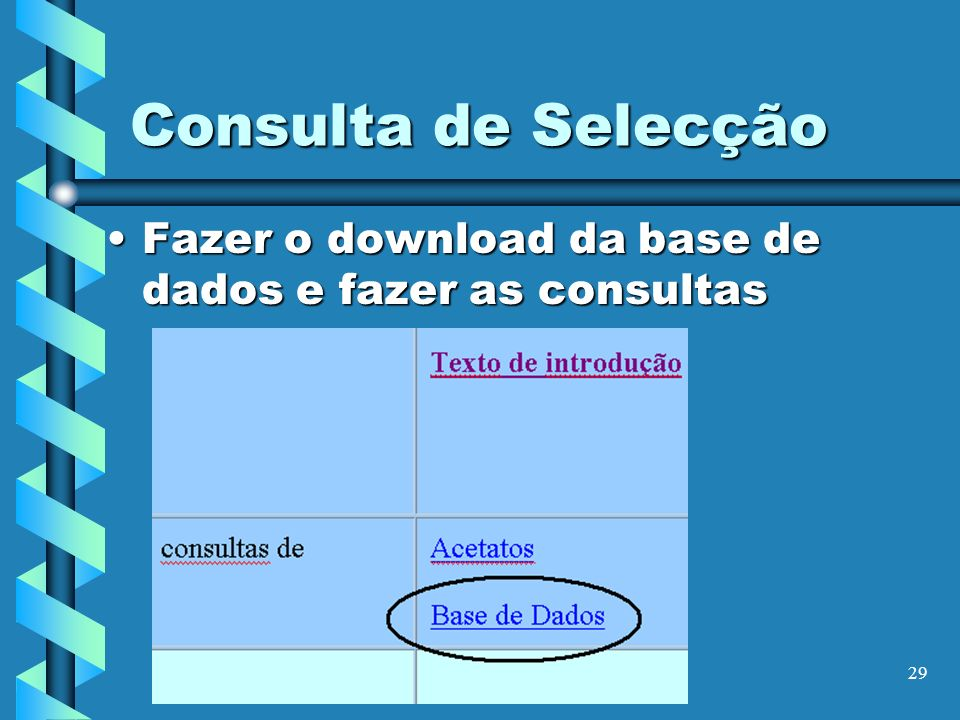 Consulta de Selecção Fazer o download da base de dados e fazer as consultas