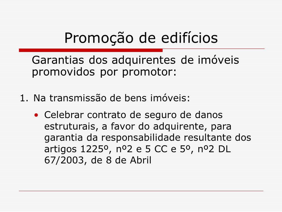 Promoção de edifícios Garantias dos adquirentes de imóveis promovidos por promotor: Na transmissão de bens imóveis: