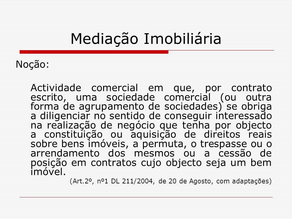 Mediação Imobiliária Noção: