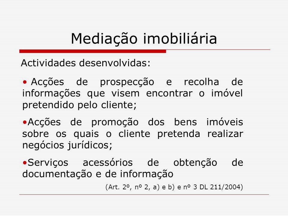 Mediação imobiliária Actividades desenvolvidas: