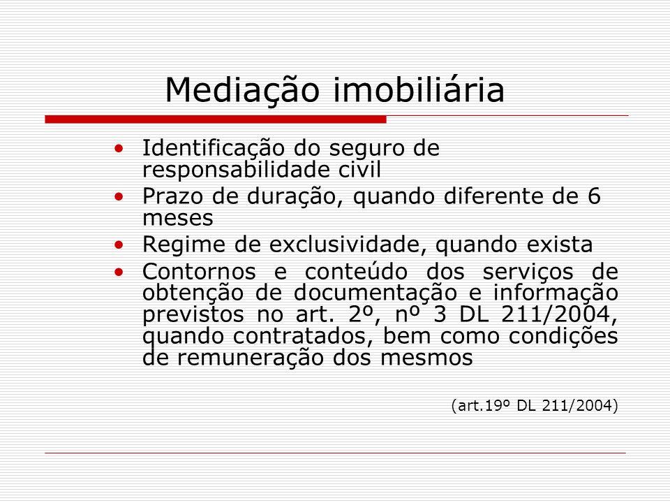 Mediação imobiliária Identificação do seguro de responsabilidade civil