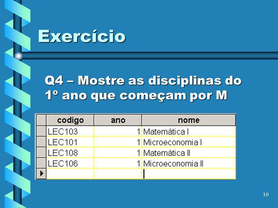 Q4 – Mostre as disciplinas do 1º ano que começam por M