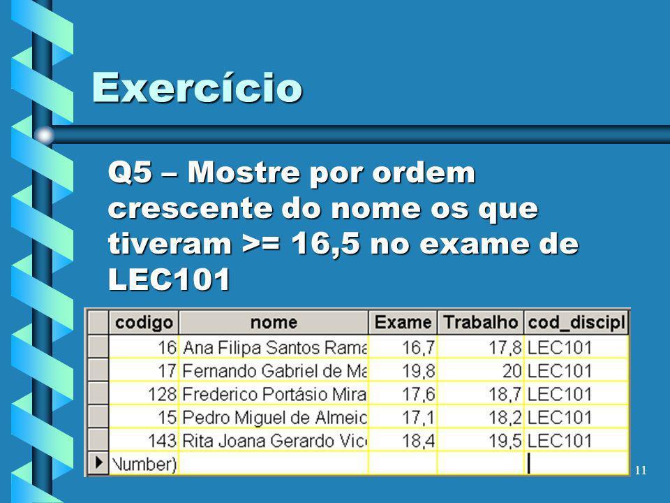 Exercício Q5 – Mostre por ordem crescente do nome os que tiveram >= 16,5 no exame de LEC101