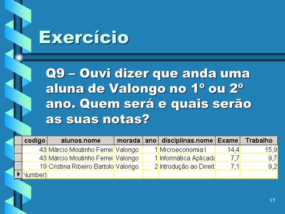 Exercício Q9 – Ouvi dizer que anda uma aluna de Valongo no 1º ou 2º ano.