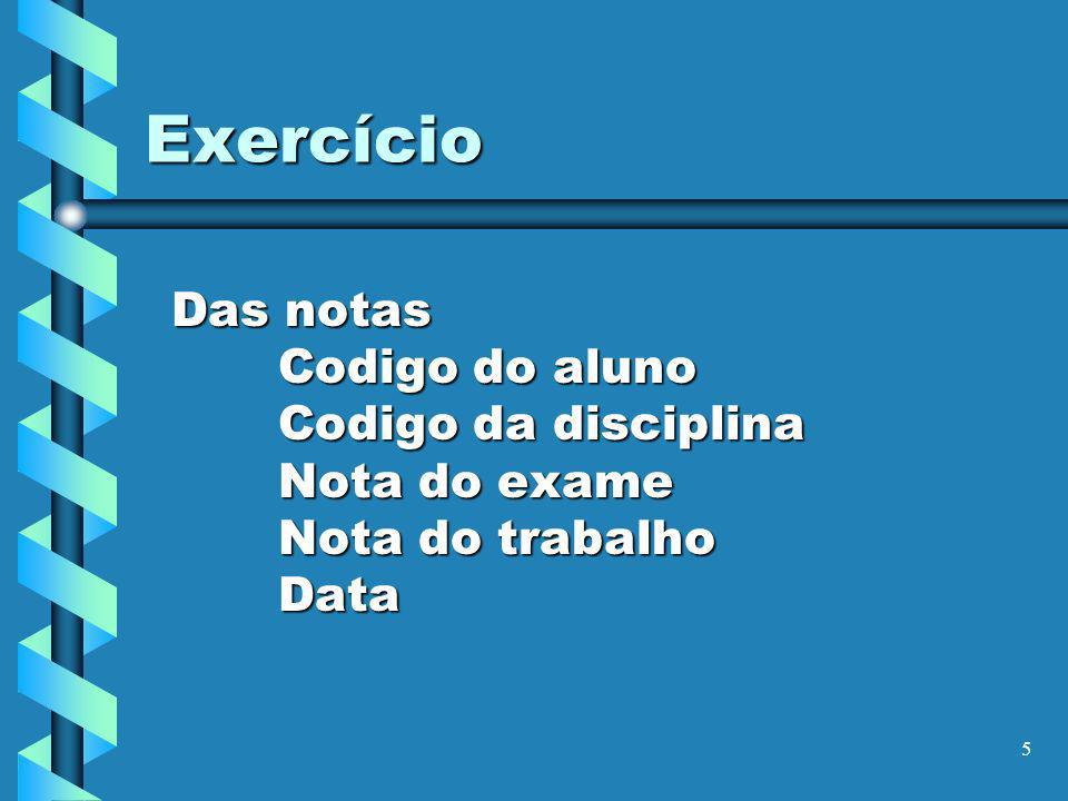 Exercício Das notas Codigo do aluno Codigo da disciplina Nota do exame