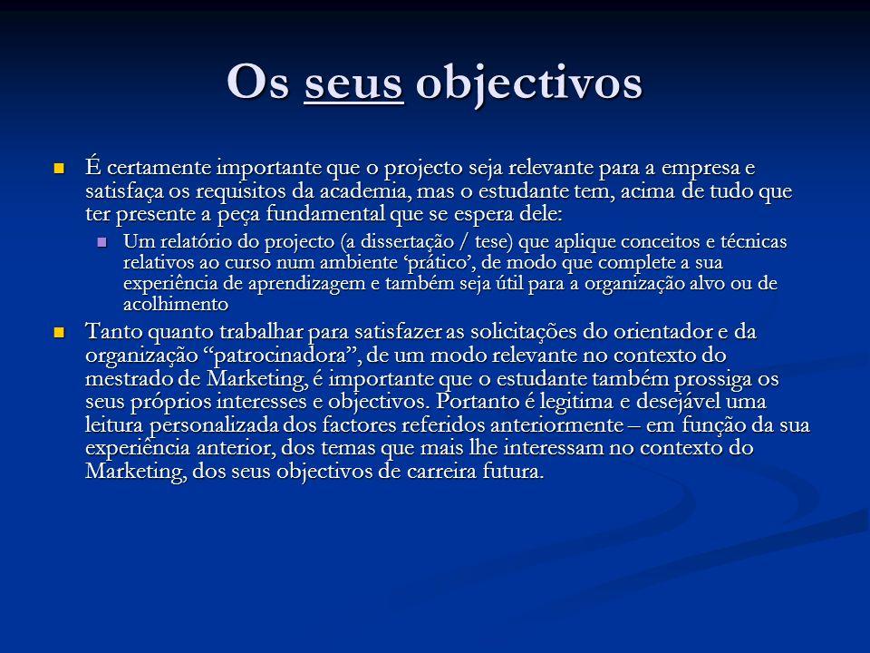 Os seus objectivos