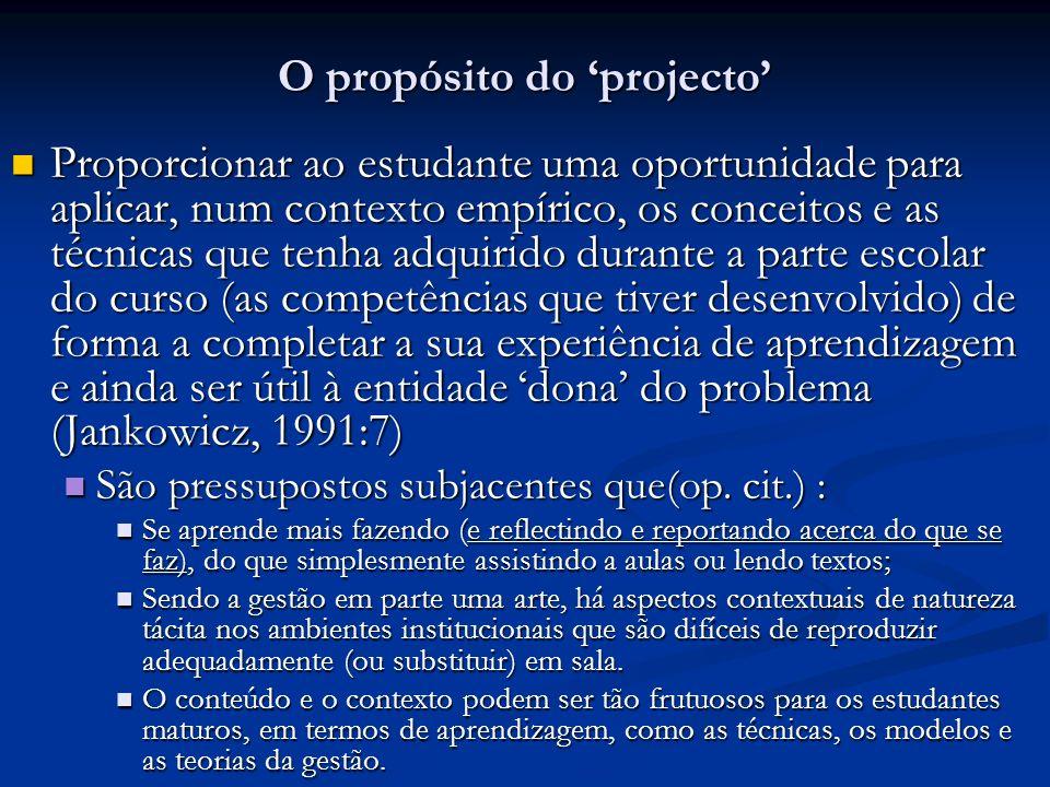 O propósito do 'projecto'