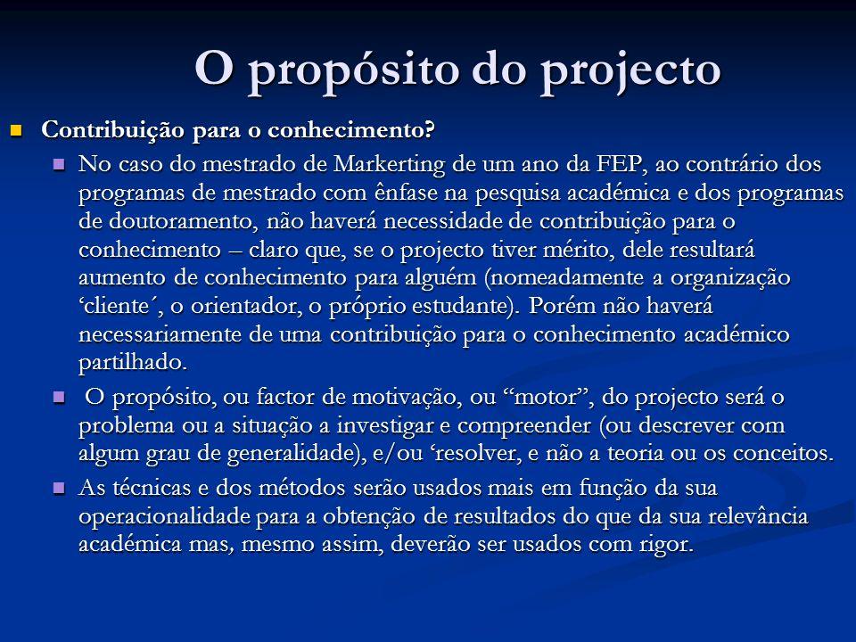O propósito do projecto