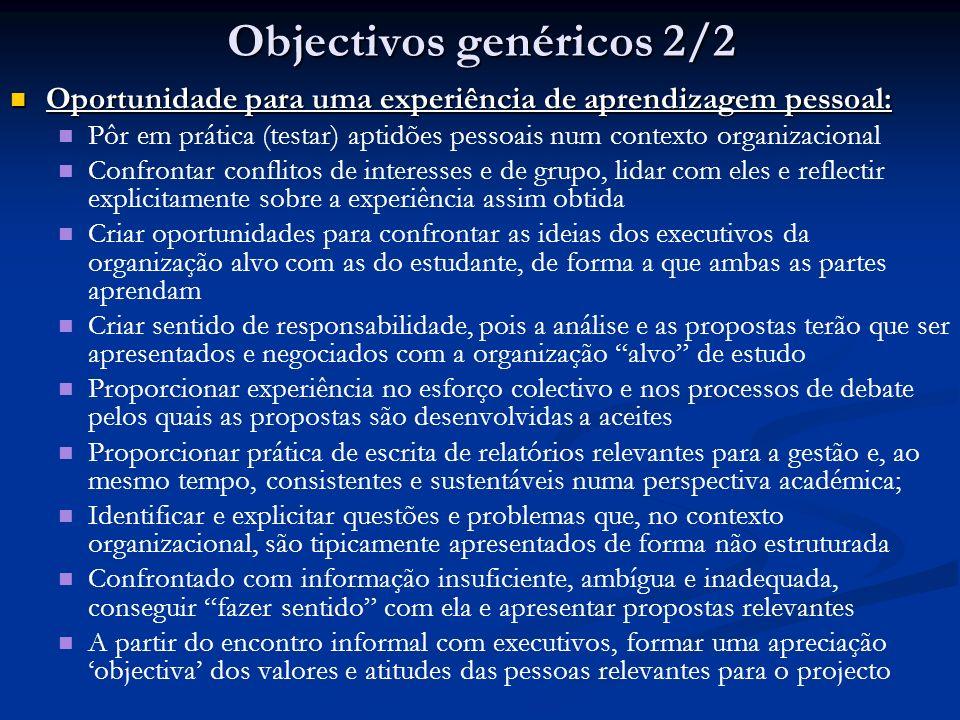 Objectivos genéricos 2/2
