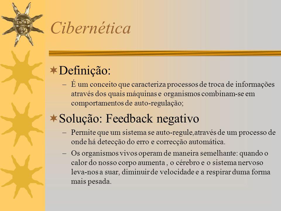 Cibernética Definição: Solução: Feedback negativo