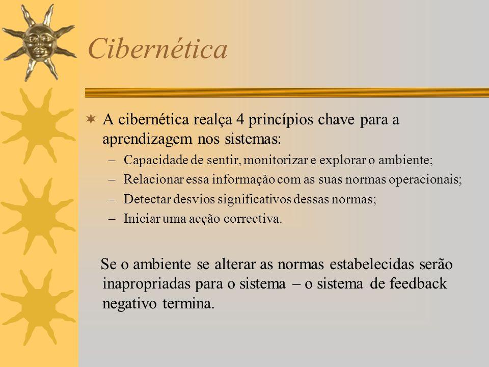 Cibernética A cibernética realça 4 princípios chave para a aprendizagem nos sistemas: Capacidade de sentir, monitorizar e explorar o ambiente;
