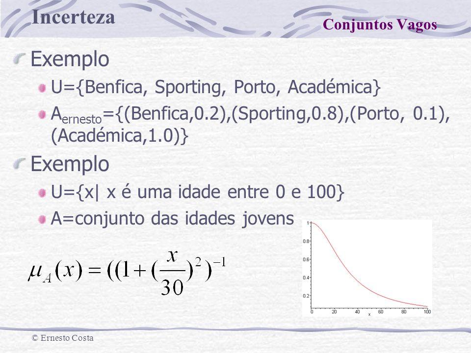 Exemplo U={Benfica, Sporting, Porto, Académica}