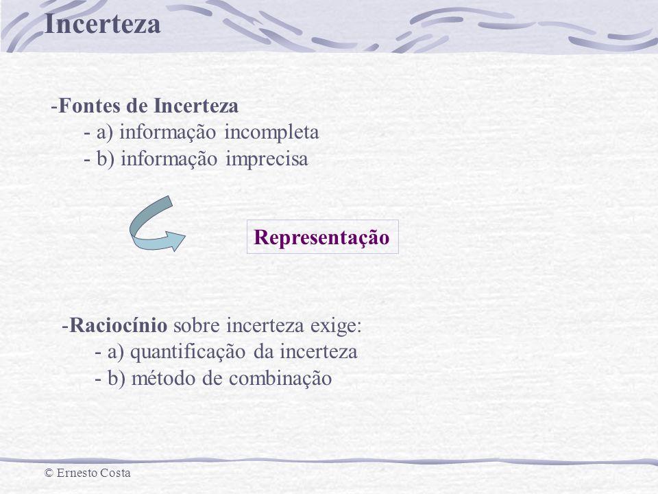 Fontes de Incerteza a) informação incompleta. b) informação imprecisa. Representação. Raciocínio sobre incerteza exige: