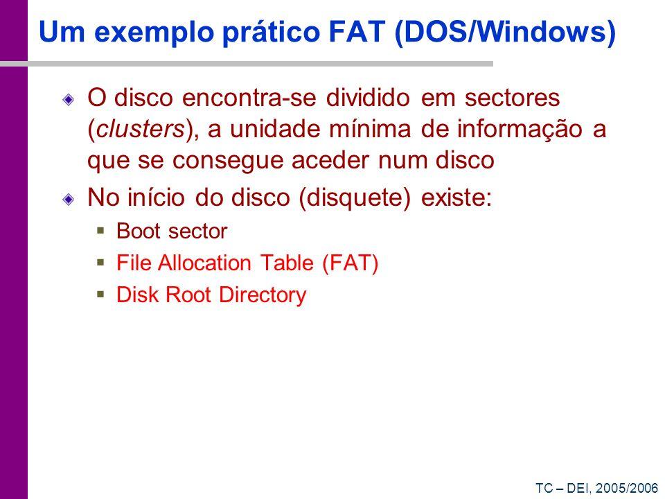 Um exemplo prático FAT (DOS/Windows)