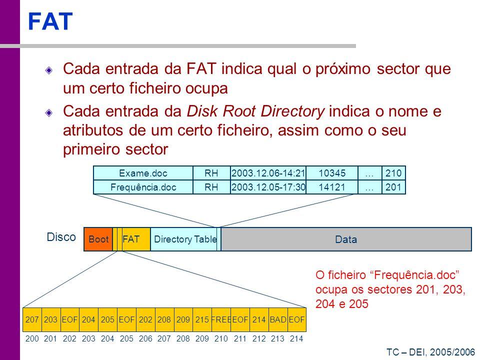 FAT Cada entrada da FAT indica qual o próximo sector que um certo ficheiro ocupa.