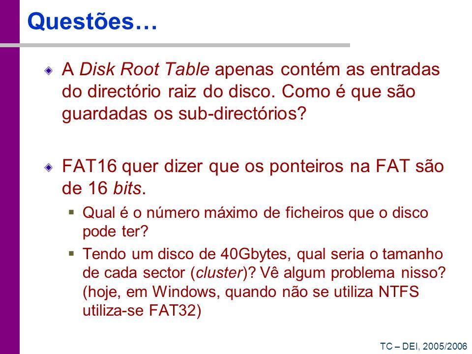 Questões… A Disk Root Table apenas contém as entradas do directório raiz do disco. Como é que são guardadas os sub-directórios