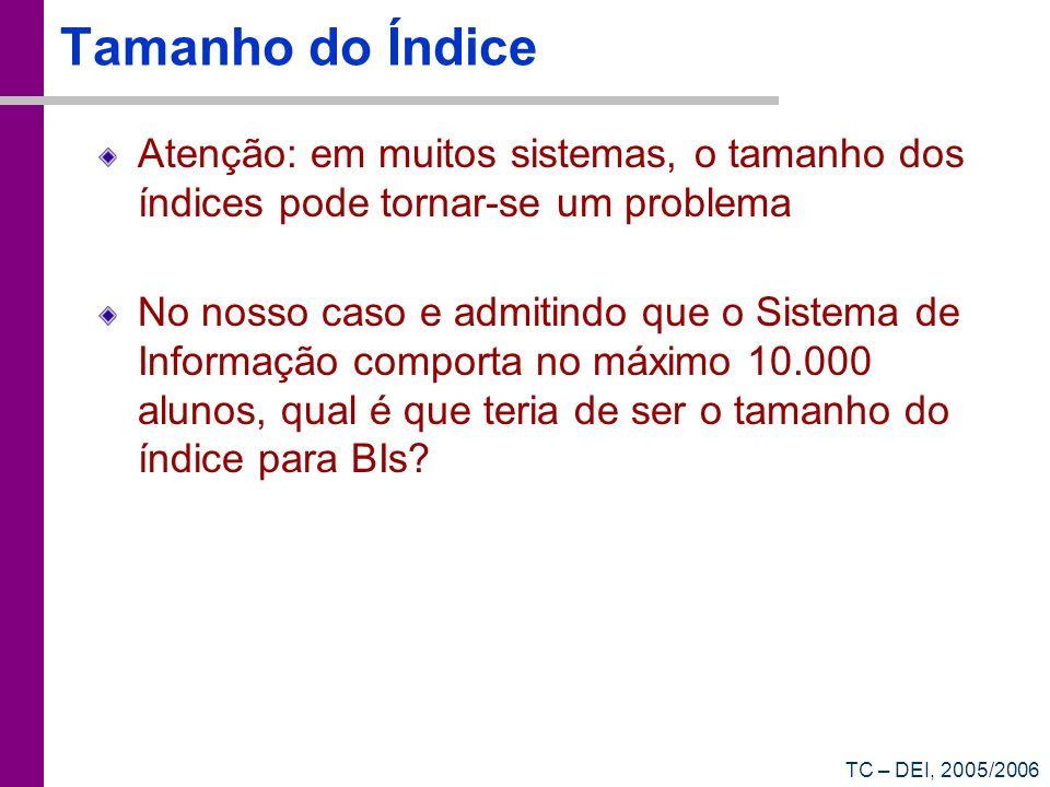 Tamanho do ÍndiceAtenção: em muitos sistemas, o tamanho dos índices pode tornar-se um problema.