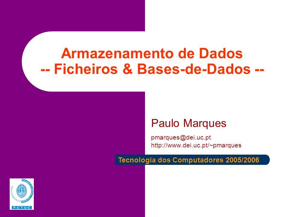 Armazenamento de Dados -- Ficheiros & Bases-de-Dados --