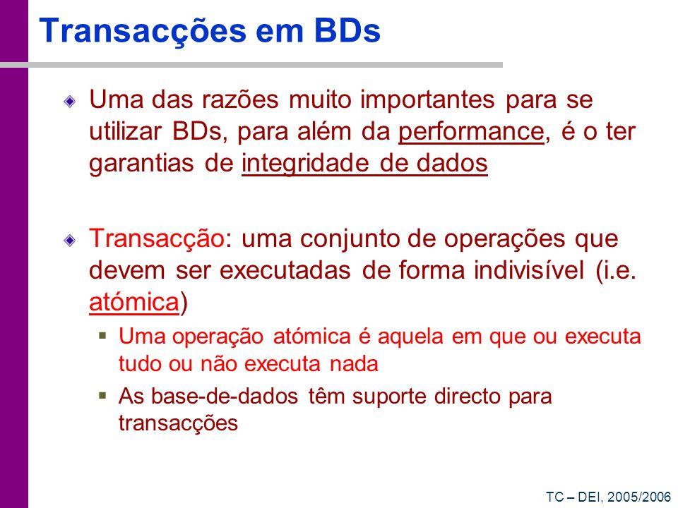 Transacções em BDsUma das razões muito importantes para se utilizar BDs, para além da performance, é o ter garantias de integridade de dados.