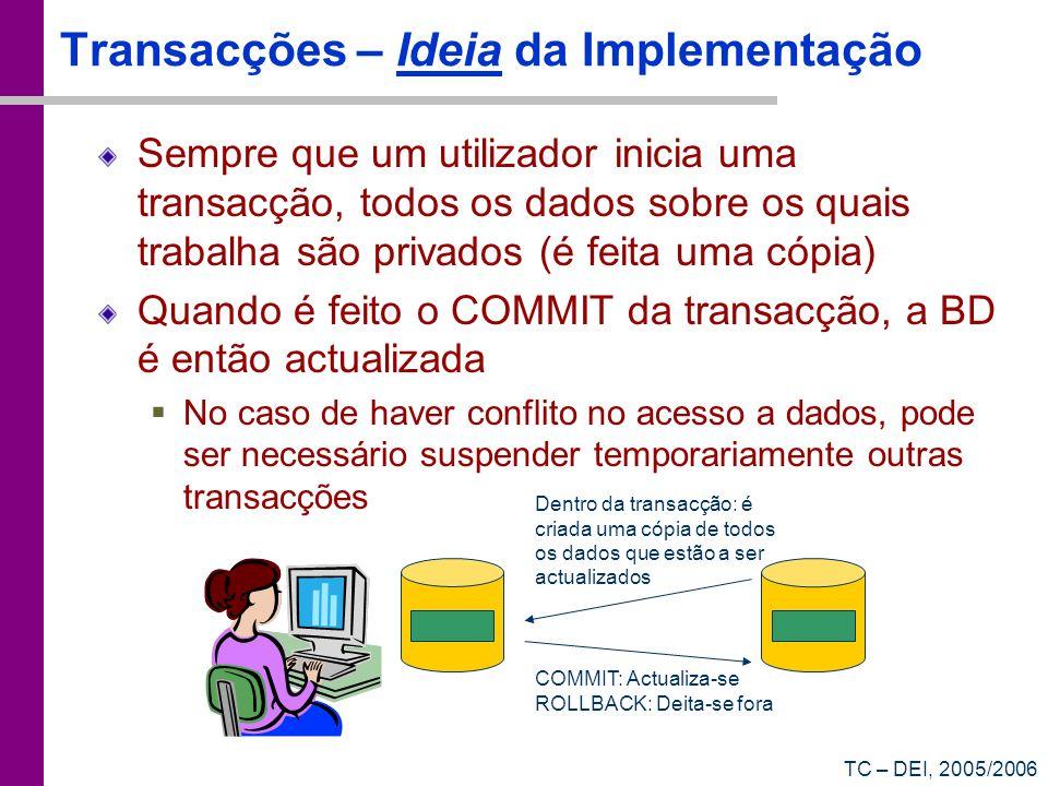 Transacções – Ideia da Implementação