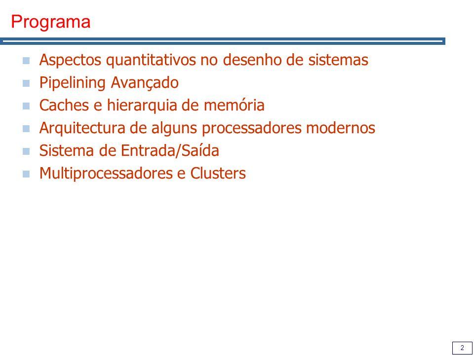 Programa Aspectos quantitativos no desenho de sistemas