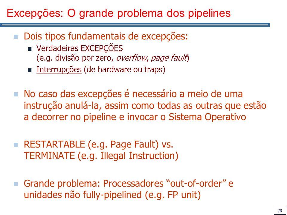 Excepções: O grande problema dos pipelines