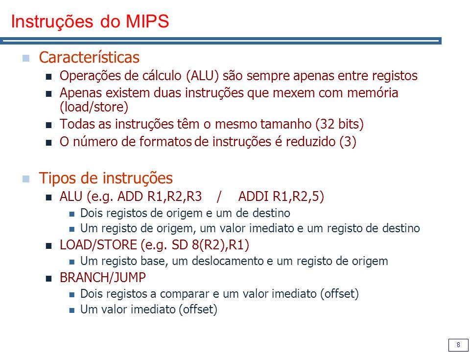 Instruções do MIPS Características Tipos de instruções