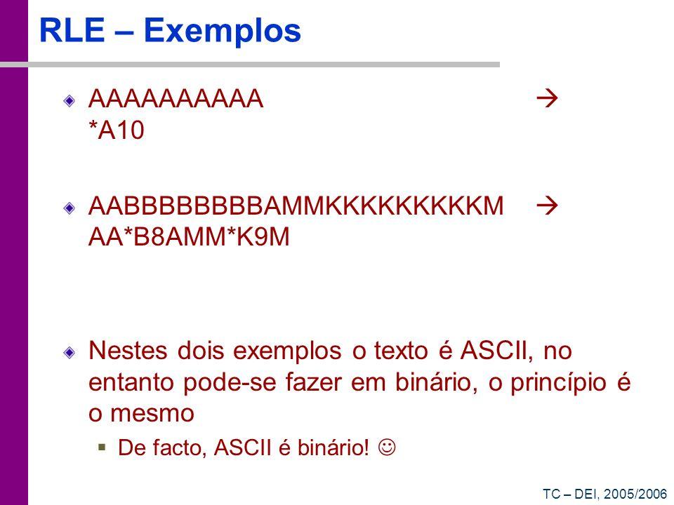 RLE – Exemplos AAAAAAAAAA  *A10
