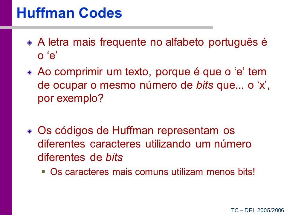 Huffman Codes A letra mais frequente no alfabeto português é o 'e'