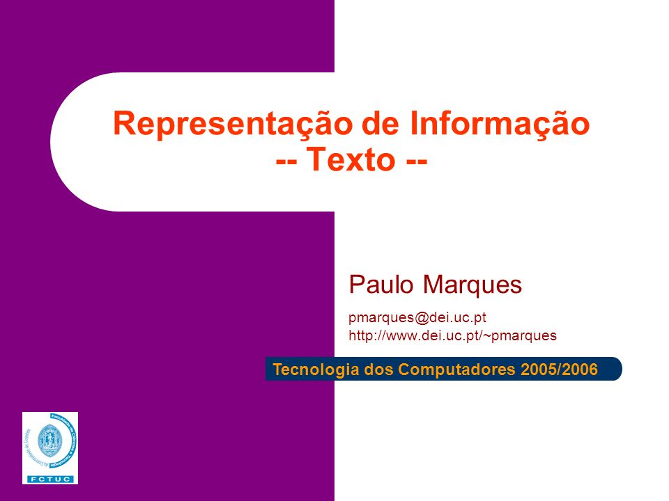 Representação de Informação -- Texto --