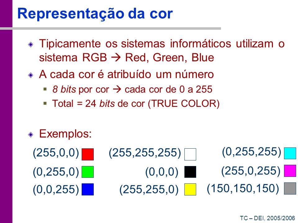 Representação da cor Tipicamente os sistemas informáticos utilizam o sistema RGB  Red, Green, Blue.