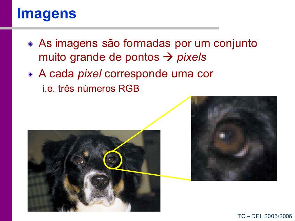 Imagens As imagens são formadas por um conjunto muito grande de pontos  pixels. A cada pixel corresponde uma cor.