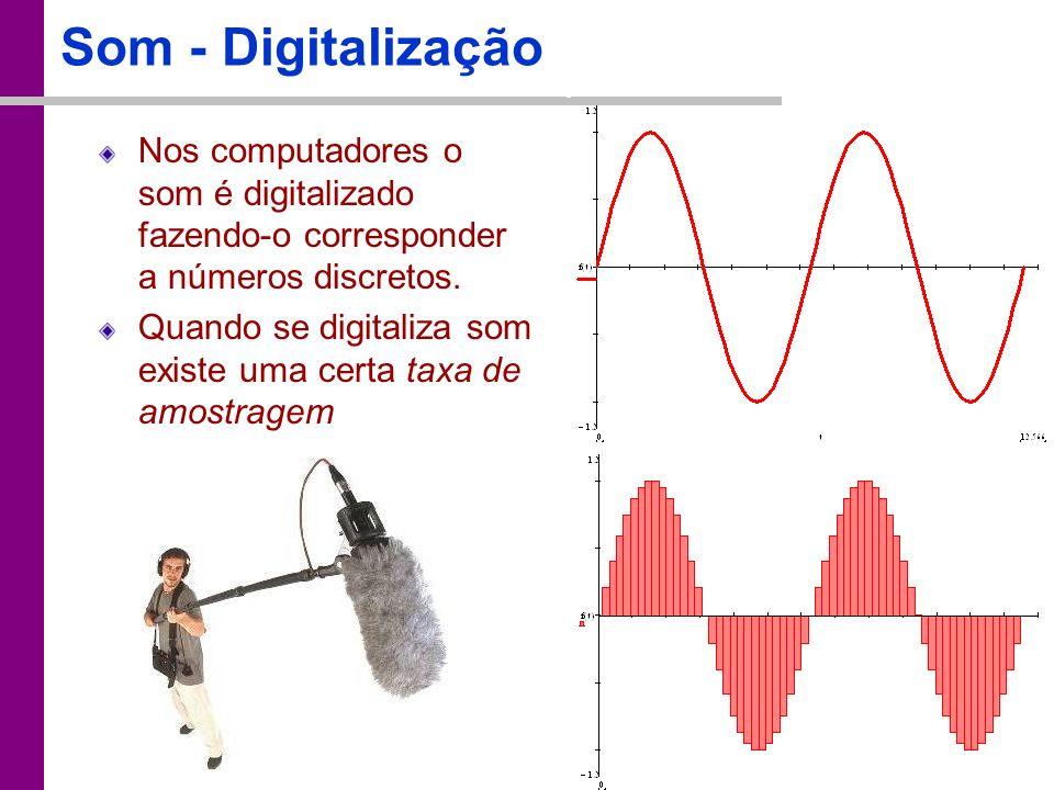 Som - Digitalização Nos computadores o som é digitalizado fazendo-o corresponder a números discretos.