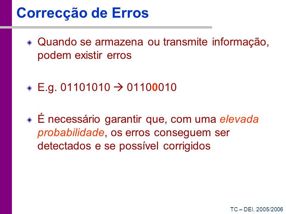 Correcção de Erros Quando se armazena ou transmite informação, podem existir erros. E.g. 01101010  01100010.