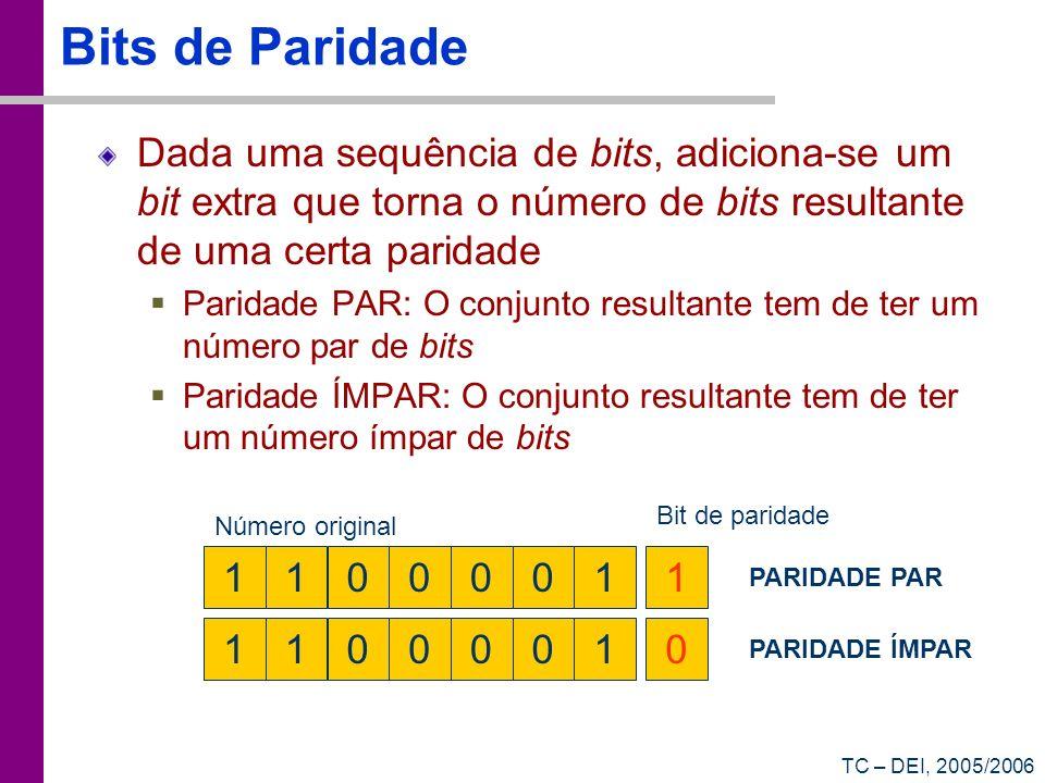 Bits de Paridade Dada uma sequência de bits, adiciona-se um bit extra que torna o número de bits resultante de uma certa paridade.