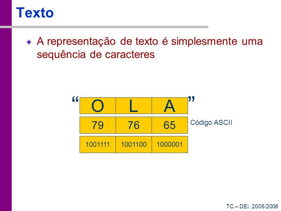 Texto A representação de texto é simplesmente uma sequência de caracteres. O. L. A. 79. 76.