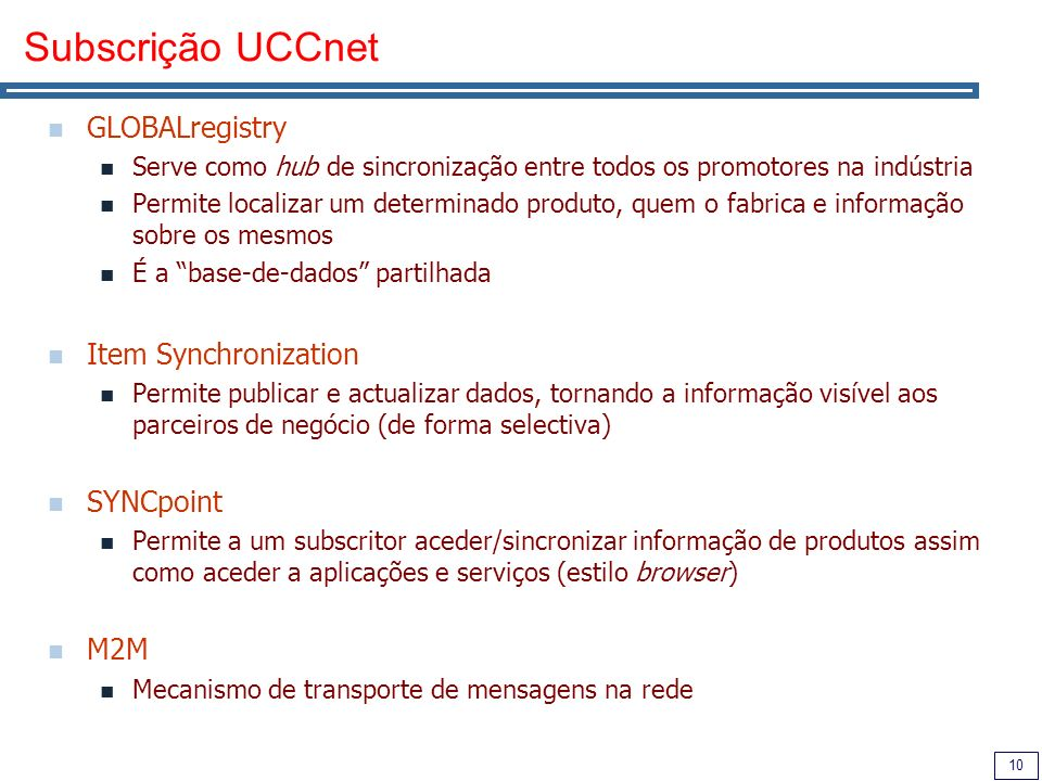 Subscrição UCCnet GLOBALregistry Item Synchronization SYNCpoint M2M