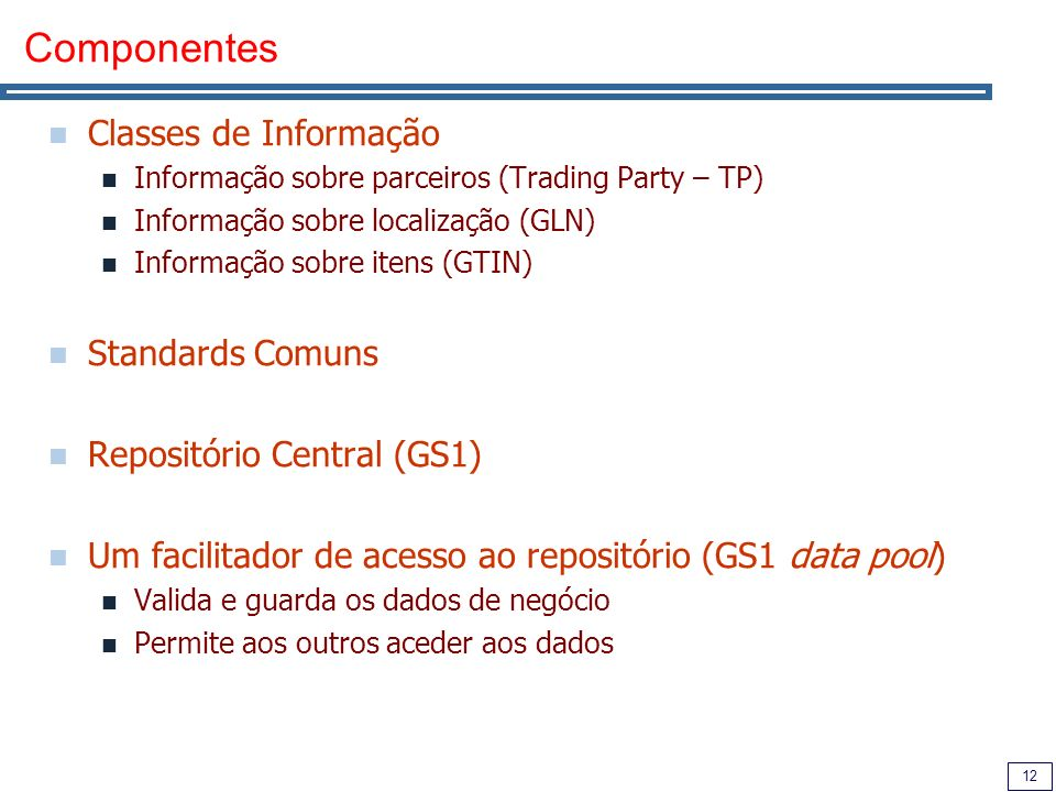 Componentes Classes de Informação Standards Comuns