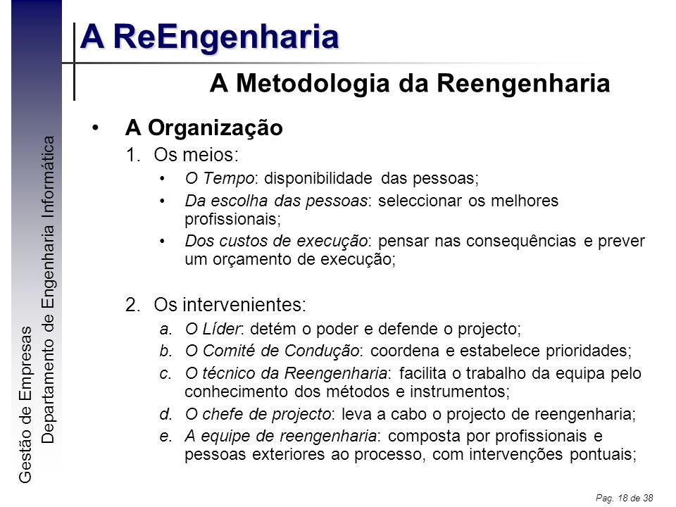 A Metodologia da Reengenharia