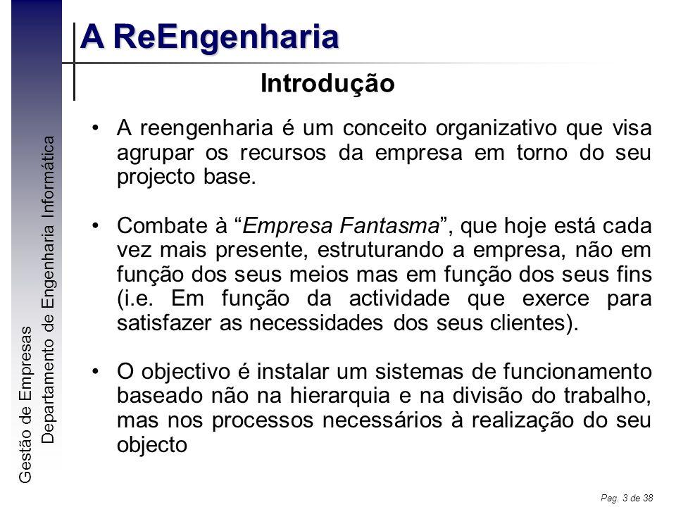 Introdução A reengenharia é um conceito organizativo que visa agrupar os recursos da empresa em torno do seu projecto base.