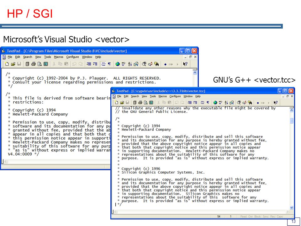 HP / SGI Microsoft's Visual Studio <vector>