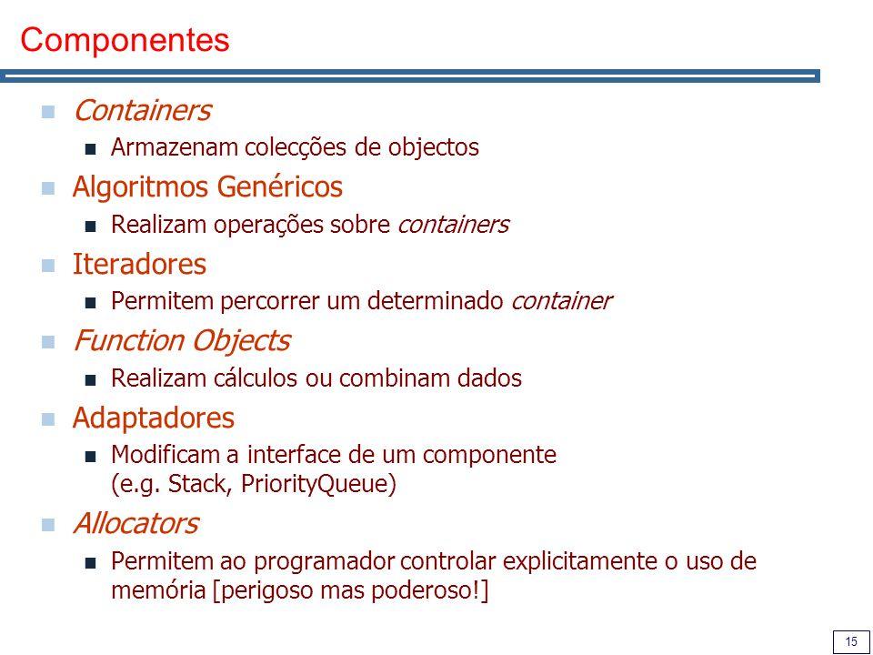 Componentes Containers Algoritmos Genéricos Iteradores