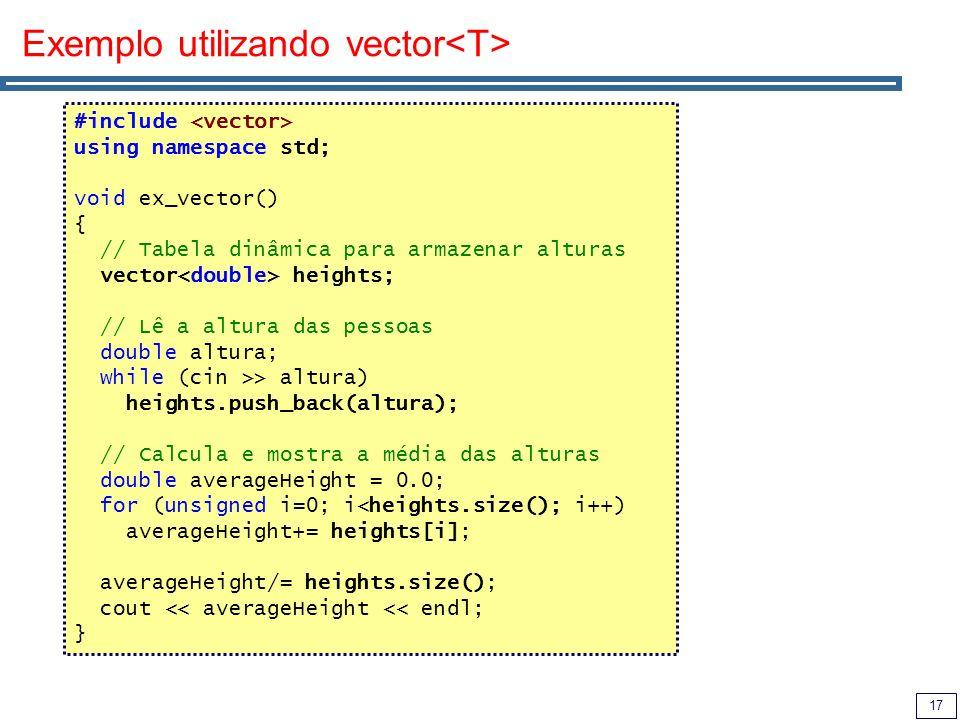 Exemplo utilizando vector<T>