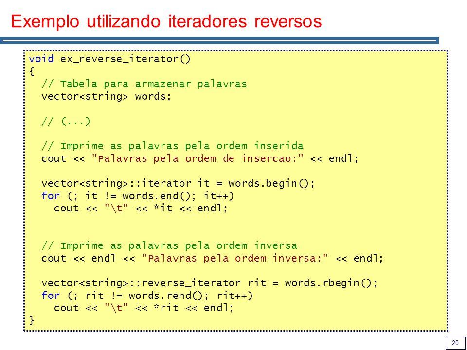 Exemplo utilizando iteradores reversos