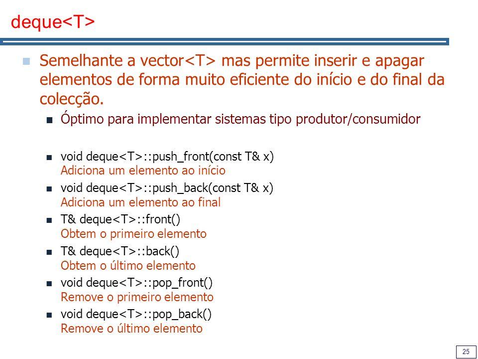 deque<T> Semelhante a vector<T> mas permite inserir e apagar elementos de forma muito eficiente do início e do final da colecção.