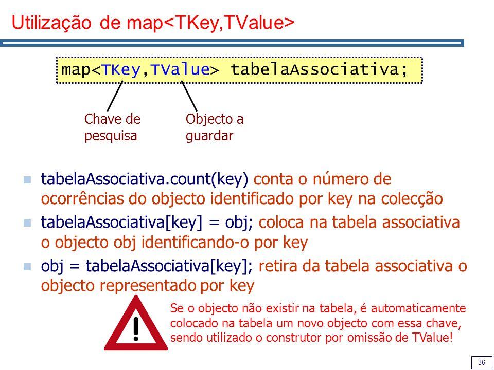 Utilização de map<TKey,TValue>