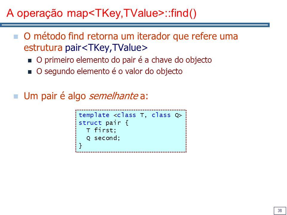 A operação map<TKey,TValue>::find()